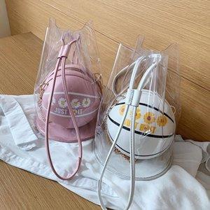 Transparent Pvc 2 Pieces Basketball Shaped Shoulder Messenger Handbags Purse Cross Body Pu Bag For Women Girls Chain Totes 2020