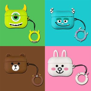 for Airpods Case Cartoon Silicone for AirPods Pro Cases Designer Case Cover Hook Clasp Keychain Anti Lost Fashion Earphone Case