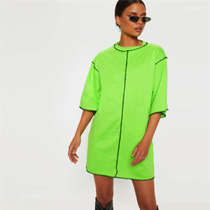 Long T-shirts manches demi desserrées dames solides T-shirts ras du cou Mode Femme Vêtements d'été Femmes Patchwork