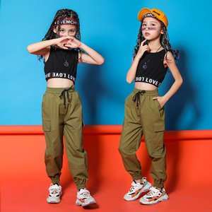 Children Hip Hop Clothing Black Top t Running Casual Pants for Girls Jazz Dance Costumes Ballroom Dancing Clothes Wear