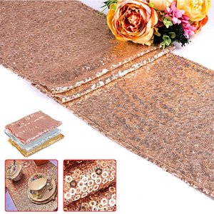 30*275cm Sequin Table Cloth Fabric Table Runner Sequin Table Cloths Sparkly Bling for Wedding Party Decoration Props Supplies FFA3170-1