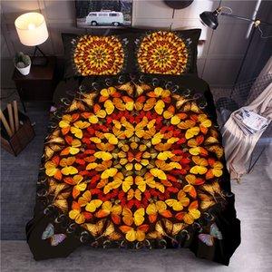 Borboleta impresso cama Set Duvet Cover Define Rainha Rei da capa do edredon Lençois