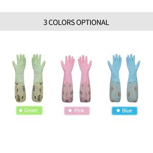 2pcs / set Gants longs lavage ménage nettoyage gant en latex avec des fibres Doublure supplémentaire pour la maison Cuisine vaisselle Gants en caoutchouc vaisselle