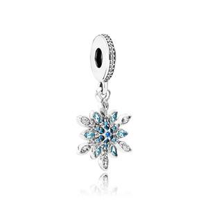 925 Ayar Gümüş Kristal kar Kolye Takılar Orijinal kutusu için Pandora Avrupa Boncuk Charms Bilezik Kolye takı yapımı aksesuarları