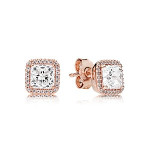 For Box 925 Stone Stud Earring Original CZ 18K For Gold Silver Diamond Set Gold Rose Pandora Plated Wedding Earrings Square Women Dwohv