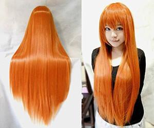 Длинные прямые Аниме Синтетический парик Cosplay 80см парик Hatsune Miku Orange Party Экстенсиональная волос для женщин Perruque Хэллоуин Плутон