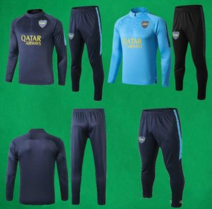 19 20 Boca Juniors manica tuta sportiva di calcio Deep Blue Felpa pantaloni da uomo di calcio pieno Tuta da allenamento Boca qualità tailandese Maglione Pantalone lungo