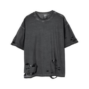 Loch Artmens-T-Shirts Short Sleeve Solid Color Homme Kleidung Art und Weise beiläufige Kleidung Mens-Sommer-T-Shirts