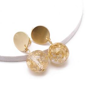 Envío gratis oro plata Glitter Ball resina lindo diseño simple aleación Clip-on dulce pendiente para mujeres