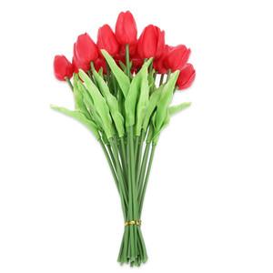 20pcs artificielle PU fleur de bouquet de tulipe bureau à domicile fête de mariage décoration