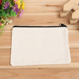 Toptan 19 cm x 15 cm boş tuval fermuar Kalem durumlarda kalem torbalar pamuk kozmetik Çanta makyaj çantaları Cep telefonu debriyaj çanta