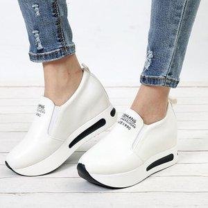 2019 Sonbahar Kadın Creepers Artan Yükseklik Ayakkabı Makosenler Platformu Kadın Elastik Band ayakkabı On Kadın Casual Kayma