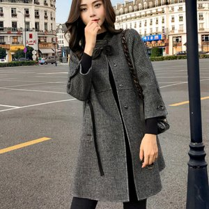 Woherb mayor-a cuadros capa de las mujeres del collar del soporte del cordón de las chaquetas del foso de la vendimia invierno Prendas de Corea moda de Nueva Abrigos Mujer Invierno