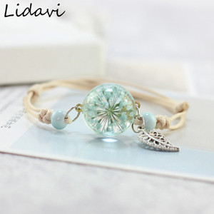 Nouveau Boho Vintage Charme Bracelet À La Main Réel sec fleur boule de verre armure réglable Bracelets Bracelet Pour Les Femmes De Mode