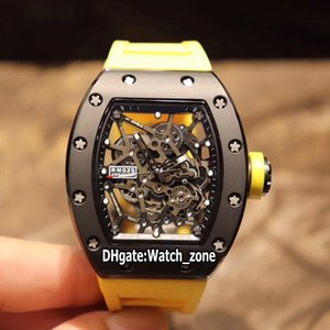New RM035 AMERICA5 Y-TZP Black Ceramic Case Skeleton Dial Miyota NH Automatic 035 Mens Watch Sapphire Yellow Rubber Strap Watches Watch_Zone