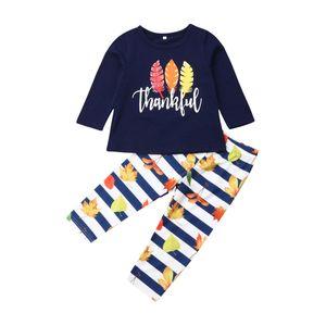 2adet Bebek Kız Bebek Şükran Giyim tişört Tops + Uzun Pantolon Kıyafet Seti