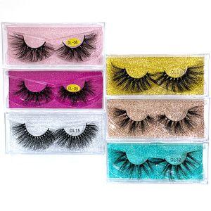 تخصيص التعبئة 25MM 100٪ يدويا الطبيعي سميكة جلدة العين أدوات ماكياج ناعم ارشادية 3D المنك حجم الشعر الرموش الناعمة