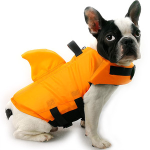 애완 동물 수영복 개 구명 조끼 구명 조끼 수영복 안전 의류와 상어 지느러미 휴대용 색상 믹스 37wyf1