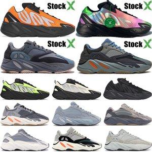 Stok X kutusu 700 Kravat boya Turuncu Karbon Teal mavisi 3M yansıtıcı kanye batı koşu ayakkabıları Atalet mıknatıs vanta erkekler kadınlar tasarımcı spor ayakkabısı