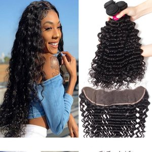 9A Remy Brazilian Straight Human Hair Bundles Weave With 13x4 Ear to Ear Lace Frontal Closure Body Wave Straight Loose Wave Kinky Curly Hair