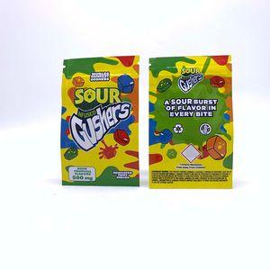 Mundos dankest Gushers medicado Fruit Snack-500MG Gusher Caramelo Bolsas tropical y tropical Sour Gummies Sabores Edibles Embalaje Bolsas Mylar