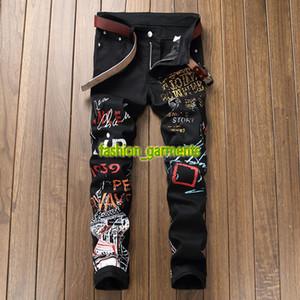 Mode Imprimé Denim Pantalon Hommes Slim Casual stretch Pantalon droit styliste Hommes hommes Graffiti Jeans Jeans Personnalité Noir Blanc