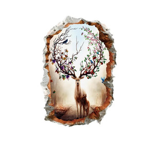 3D Vivid Animal Wall Decals Poster Vinyl Mural Living Room Bedroom Home Decor Elk Antlers Forest Wall Stickers