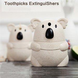 Cartoon Koala Automatic Straw Toothpick Box Manual Pressing Toothpick holder Tube Box Table decorations #4M10