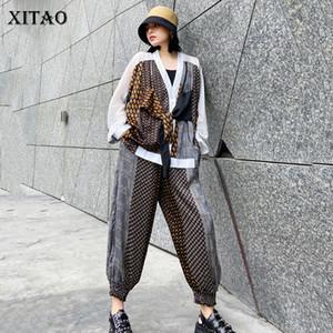 оптовые Два Piece Set Женщины моды Ложные двухкусочный Топ Лоскутная эластичный пояс карман лето Goddess вентилятора повседневные брюки GCC3784