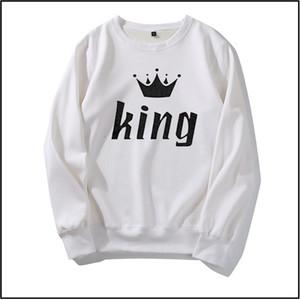 Tasarımcı Hoodies Kral Kraliçe Mektup Erkek Kadın Hoodies Tasarım Çift Tops için Moda Yeni Sonbahar Kış Rahat Kazak