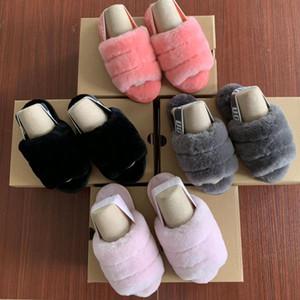 Marque Fluff Kids Oui glisser Designer Shoes Sandales d'enfants filles Fur Diapo Chaussons Sandales pour les enfants Furry chaussons Slipper Hausschuhe Diapositives