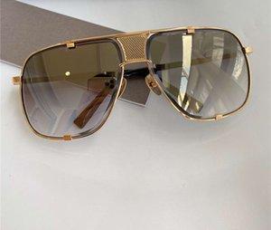 Marco de los hombres gafas de sol cuadradas Negro Oro lente de espejo de oro 2087 gafas de sol Gafas de sol UV Prodetion
