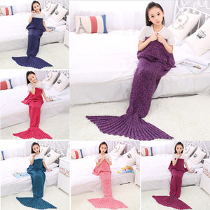 Mermaid Schwanz Decke Hoher Grad-Schleife Yard Knitting Blanket Factory Direct verdicken Kinder Mutter Familie Decke Warm Schwanz Decken