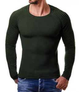 Chandails Mode couleur unie rayé manches Hommes Pull Slim Pull hommes Vêtements pour hommes lambrissé Designer