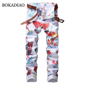 BOKADIAO Люди джинсы мода Multicolor краски журчать Прямые джинсы для мужчин белых брюки дикие Тонкие джинсовые брюки мужчина Уличного