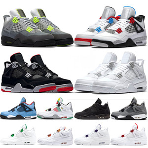 jumpman 4s Men Basketball Shoes 4 What the Neon Bred Pure Money Metallic Pack Black Cat Chaussures Mens Trainers Sports Sneaker Size 7-13