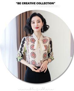 Fashion Blouses Print New Long Sleeve Slim Chiffon Women Tops and Blouses 2020 Spring Bow Collar Elegant Ladies Tops 8095 50