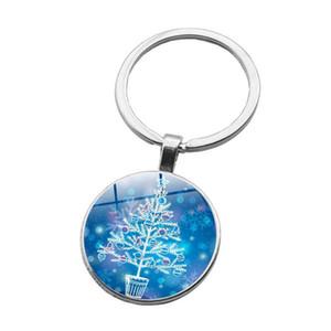 Cam Cabochon Gümüş Kaplama Noel Baba Noel ağacı Anahtarlık Takı Mektup Baba Hediye için Merry Christmas Anahtarlık Yüzük
