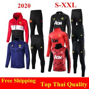qualidade Thai 2020 adulto Man United camisola kit JAMES 19 20 B.FERNANDES jaqueta de futebol hoodies Pogba definir MARCIAL Rashford vermelho agasalho