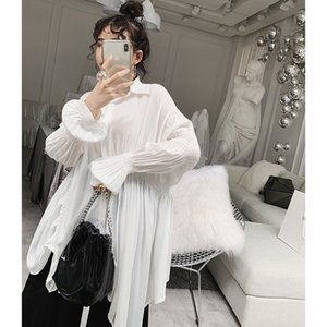 Women 2019 Spring Fashion Solid Shirt Sweet White Pleated Blouse Loose Casual Irregular White Shirts Retro Puff Sleeve Slim Tops