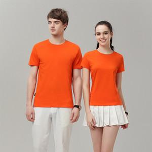 19ss Cómoda camiseta de algodón Fashion City Cuello redondo Manga corta Edición de Corea Color puro Hombre Mujer Diseñador Camisetas SLIM