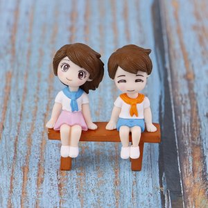 3Pcs set DIY Mini Stool Couples Dolls Fairy Garden Miniatures Decor Dollhouse Terrarium Action Figures Figurine Micro Landscape