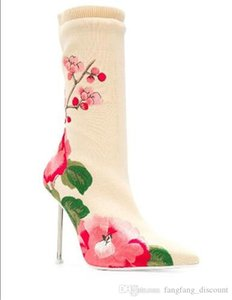 Autumn winter new ladies printed flowers ankle boots beige embroidered ankle stretch boots pointed toe women's boots