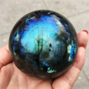 1pcs Crystal Ball Dekoration Natürliche Labradorit Steinkugel Grau Mondstein Blues Edelstein Kugel Gem Crafts Home Decoration