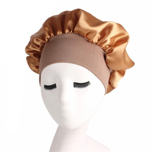Fashion- Women Fashion Satin Bonnet Cap Night Sleep Hat Silk Cap Head Wrap Sleep Hat Hair Loss Caps Accessories