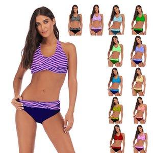 Halter Top Maillots de bain deux pièces Stripe Bikini Summer Beach Wear Maillot de bain femme bikini baisse Vêtements expédition