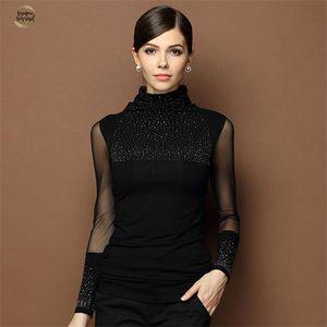 M-3XL Automne Sexy Lace Tops Femmes Slim Plus Size Lace Blouse manches longues Casual Shirt perles ajourées Vêtements pour femmes