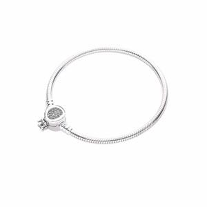 Genuine 925 Sterling Silver Bracelet Crown O chain link bracelet Fit Women Bead Charm Fashion Jewelry