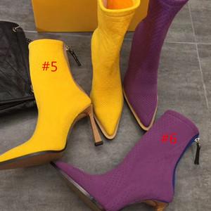 Botas de punto puntiagudas de alta calidad de moda zapatos de mujer sexy en otoño e invierno Botas elásticas de punto Botas de diseñador Calcetines de gran tamaño 35-