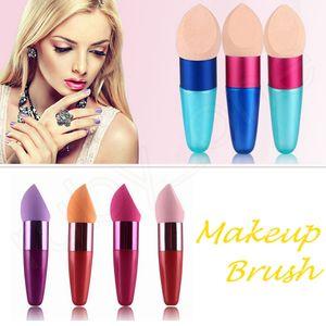 Maquillage éponges bouffantes avec la manche fondation brosse sponge flamboyante brosses de correcteur de cachette cosmétique éponge éponge boîte de beauté HHAA218
